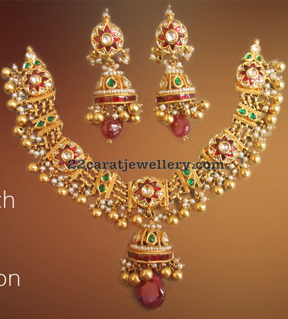 22 Carat Gold Kundan Necklace
