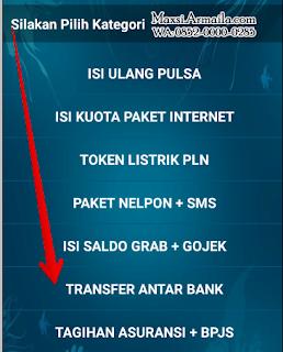 Di menu kategori pilih TRANSFER ANTAR BANK