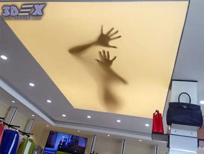 3d ceiling for shop center, 3d ceiling mural for shop center false ceiling
