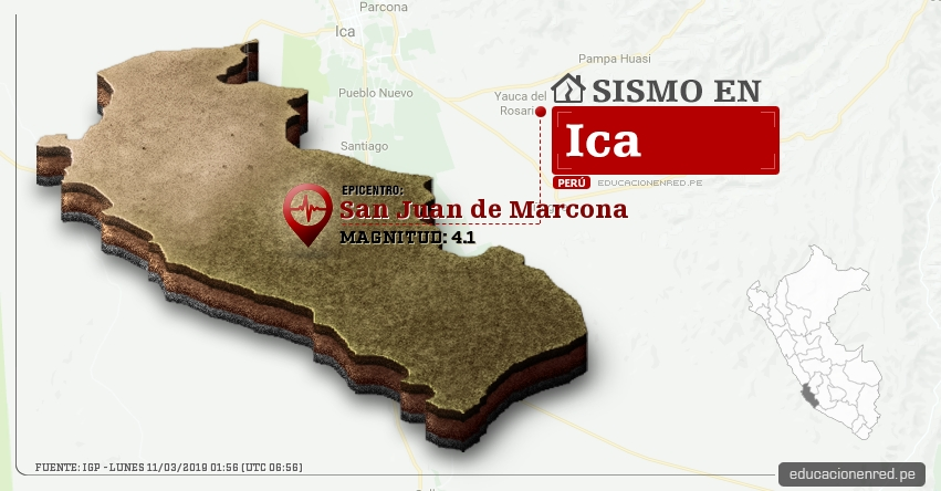 Temblor en Ica de Magnitud 4.1 (Hoy Lunes 11 Marzo 2019) Sismo Epicentro San Juan de Marcona - Nazca - IGP - www.igp.gob.pe