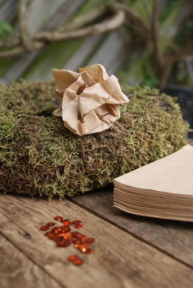 DIY Papierkranz Material Kaffeefiltertüten Mooskranz Pailletten
