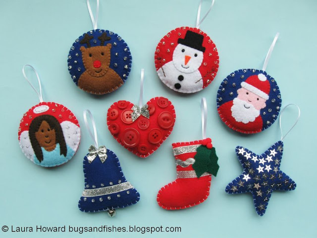 Bugs And Fishes By Lupin 16 Free Felt Christmas Ornament Tutorials