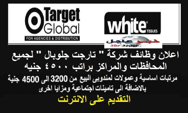 """اعلان وظائف شركة """" تارجت جلوبال """" لجميع المحافظات والمؤهلات براتب 4500 جنيه"""