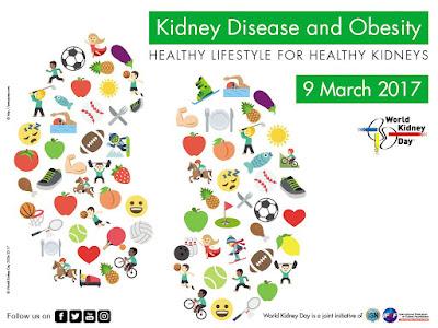 En la imagen se muestra el cartel creado por la World Kidney Day para celebrar Día Internacional del Riñón y muestra dos riñones dibujados mediante pequeñas imágenes de frutas, verduras y alimentos saludables. Enfermedad Renal y Obesidad es el lema y así lo refleja el cartel