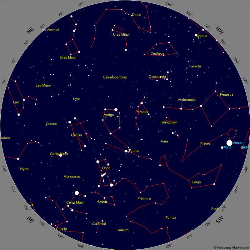 Evening Sky Chart for Monday January 30th