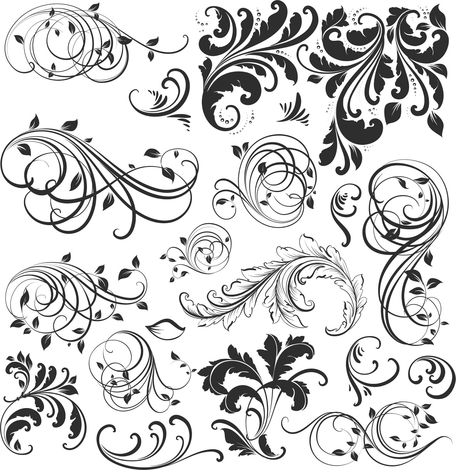 20 Vetores Florais Vintage Arabescos ~ Master Tutor
