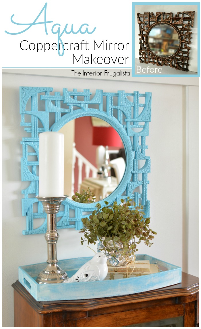 How to quickly update a 1970s mid-century modern Coppercraft Guild Mirror found at Goodwill for $5 in bold colors for fresh modern budget wall decor. #coppercraft #vintagemirror #turquoisemirror #midcenturymirror