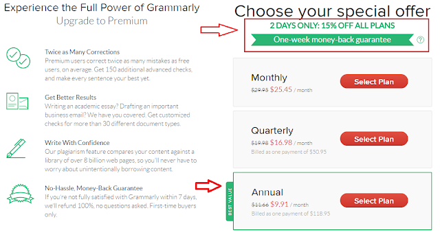 Grammarly Discount Offer - Get 25% Off on any plan with our special promo offer. Perfect deal for students, teachers, writers who want to save their money.
