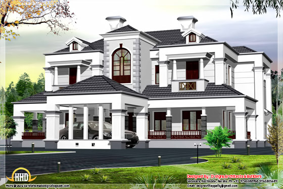 6000 square feet Victorian style 5 bhk home design