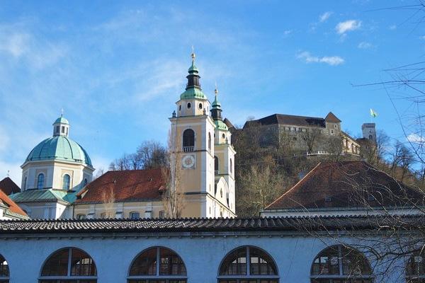 ljubljana ljubljanica cathédrale château marché central