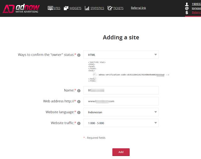 Cara menambah situs publisher Adnow