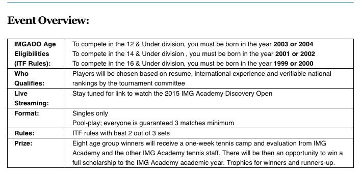 ZooTennis: April Aces, IMG Discovery Open Deadline May 4