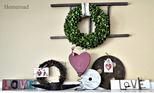 DIY Repurposed Project Valentine Mantel . Homeroad.net
