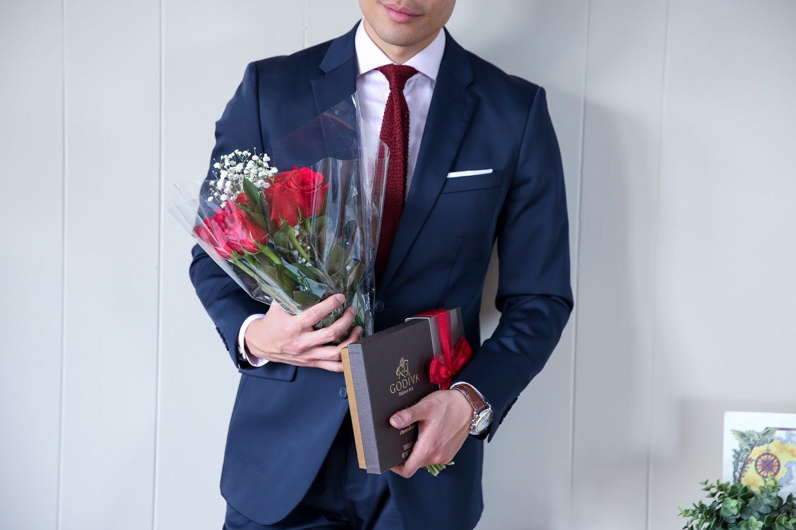Perry Ellis Navy Suit for Valentine's Day, Roses and Godiva Chocolate Menswear outfit