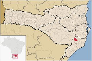 Cidade de Grão Pará, no mapa de Santa Catarina