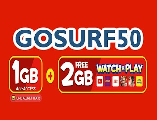 TM GoSURF50 – 1GB Data, 300MB Apps, Unlitexts to All networks for 3 Days