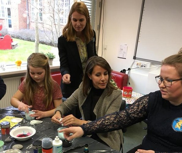 Princess Marie of Denmark visited Hans Christian Andersen Children's Hospital in Odense. Princess wears Betsey Sook Heavnely Qi Diamond Ring
