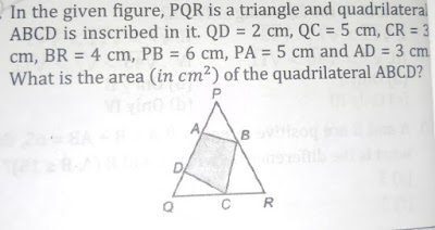 In the given figure , PQR is a triangle and quadrilateral ABCD is inscribed in it . QD = 2 cm , QC = 5 cm , CR = 3 cm , BR = 4 cm , PB = 6 cm , PA = 5 cm and AD = 3 cm . What is the area ( in cm² ) of the quadrilateral ABCD?