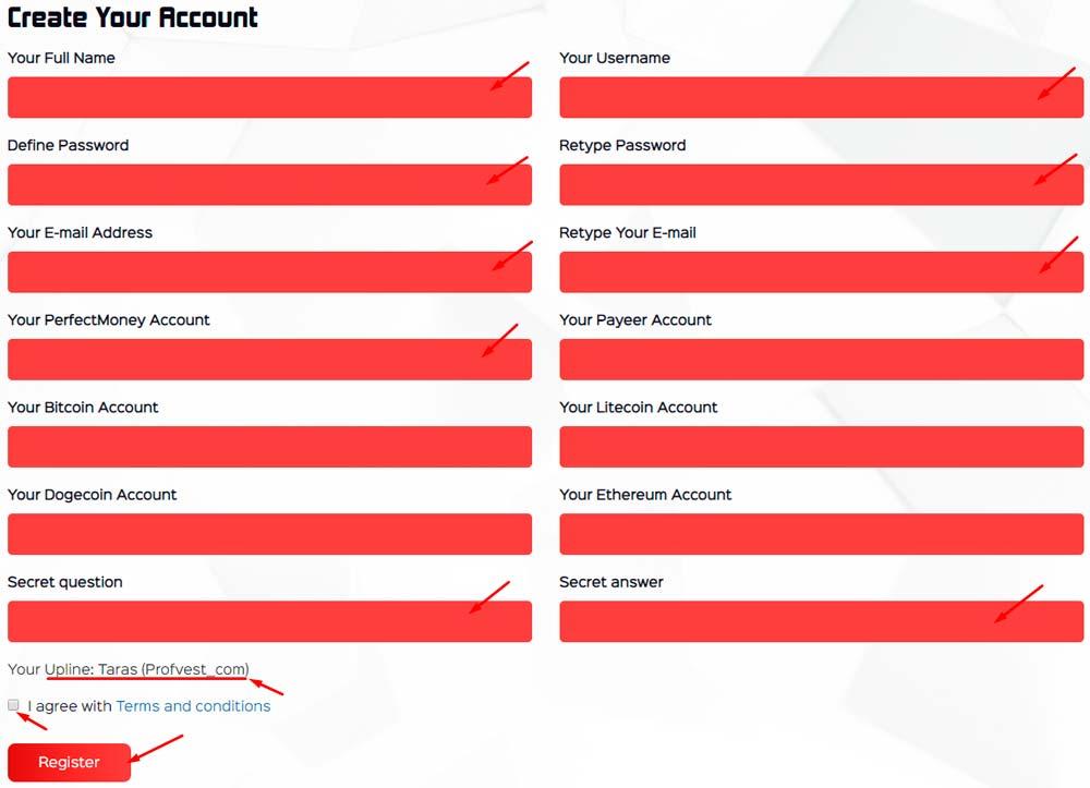 Регистрация в Etherlite 2