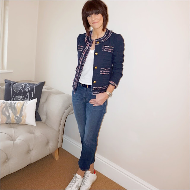 My Midlife Fashion, J Crew lady jacket with liberty trim, j crew vintage v neck tee, j crew cropped jeans, golden goose superstar low top leather trainers