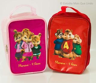 lembrancinha alvin e os esquilos, mochilinha, mochilinha alvin e os esquilos personalizada, personalizados, bolsinha alvin, necessaire infantil,