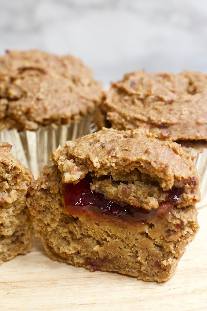 Low-Fat Peanut Butter & Jelly Muffins by Healthy Helper