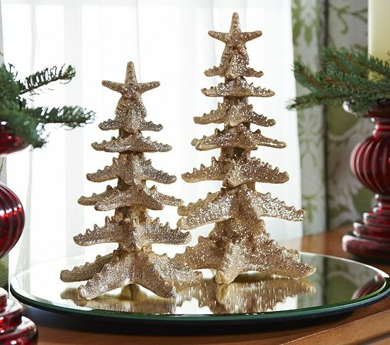 Starfish Mini Christmas Trees Beach Home Decor Design
