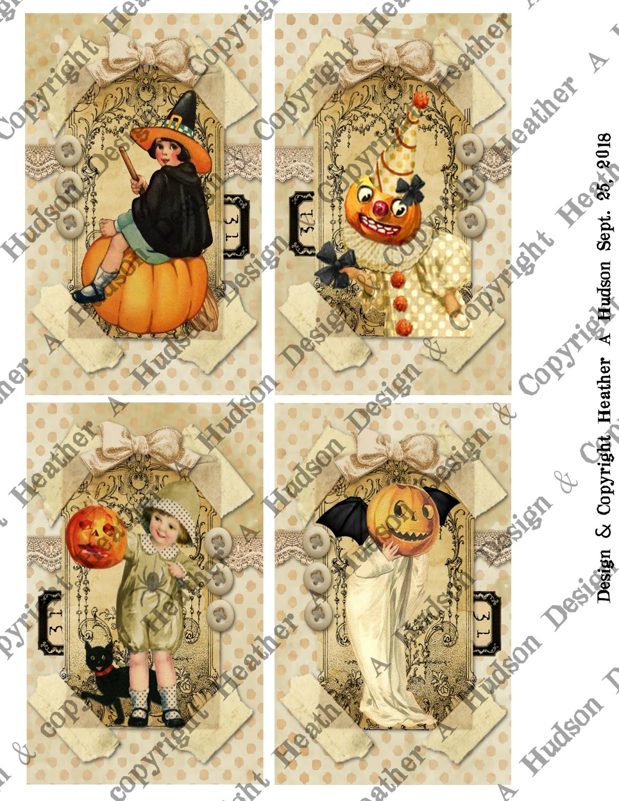 Heather A Hudson Vintage Halloween Atc S Focals Digital Collage Sheets