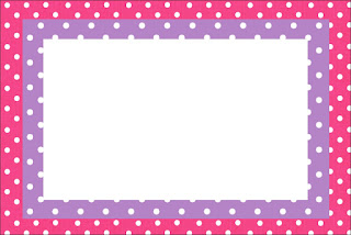 Pink, Purple and White Polka Dots Free Printable Invitations, Labels or Cards.