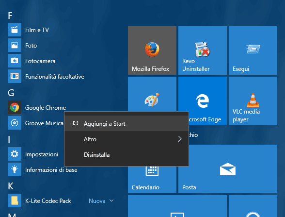 Windows 10 aggiungere programma a Start