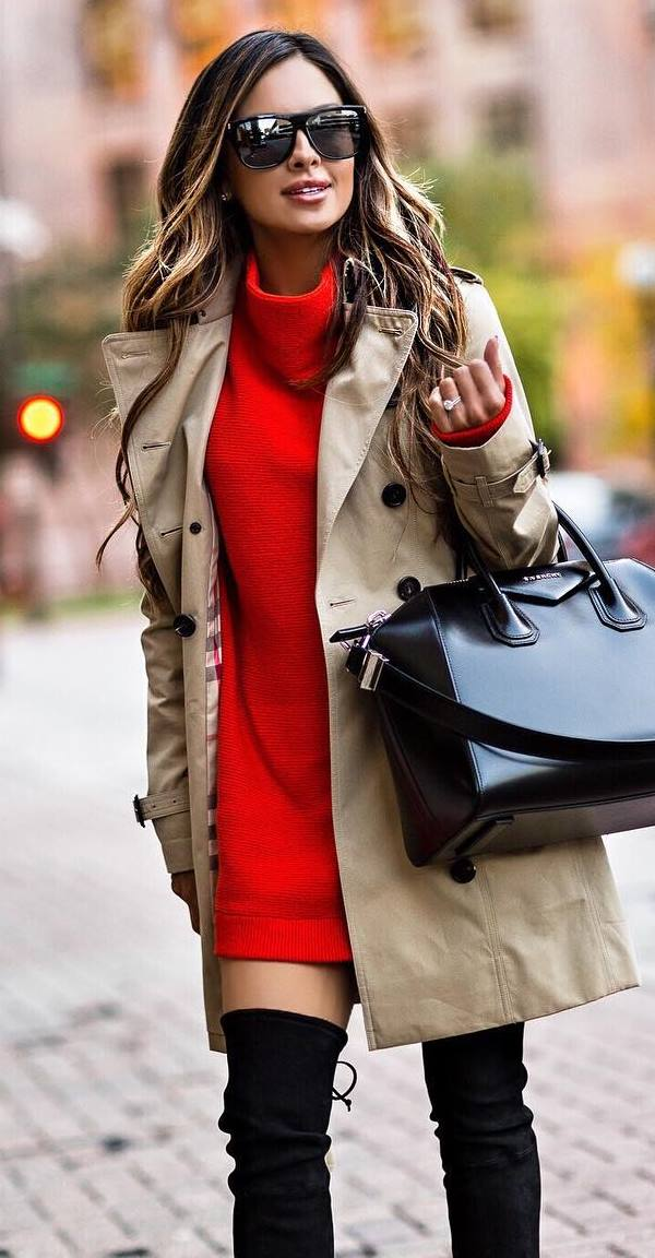 how to style a red dress : nude coat + bag + over knee boots
