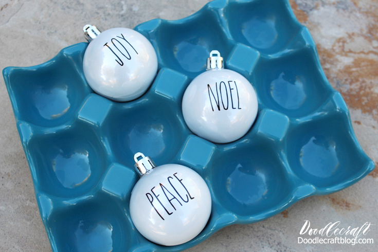 Doodlecraft Rae Dunn Inspired Christmas Tree Ornaments With Vinyl