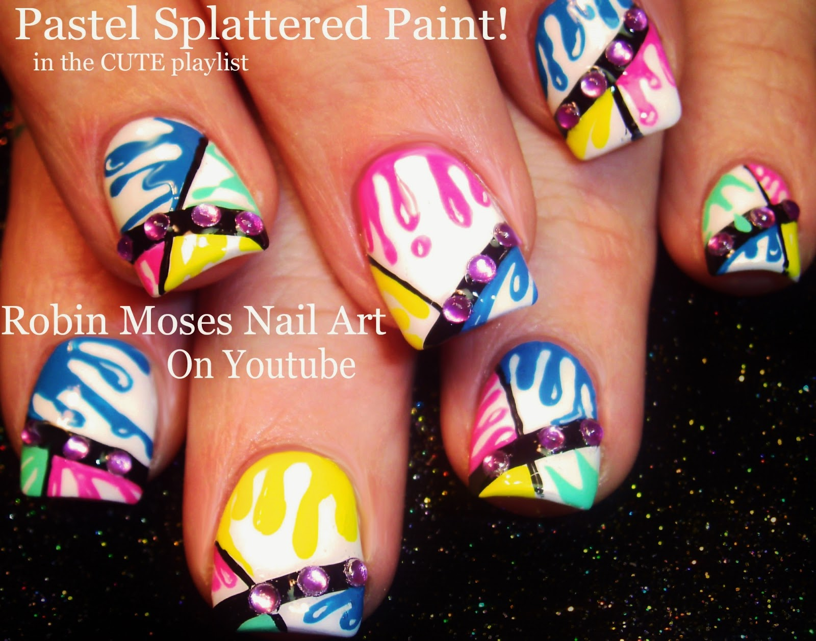 Robin moses nail art flower splatter paint with flowers black neon paint splatter design cute splatter nails splatter nails paint splatter nails prinsesfo Choice Image