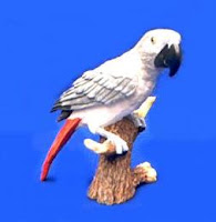 African Grey Figurine Statue Bird