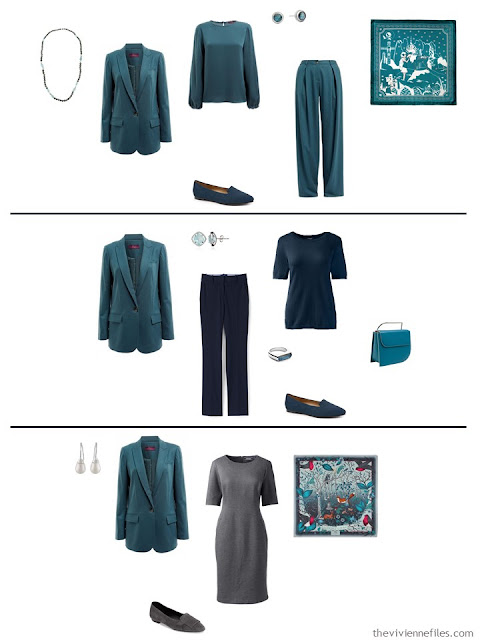 three ways to wear a teal blazer with a work capsule wardrobe