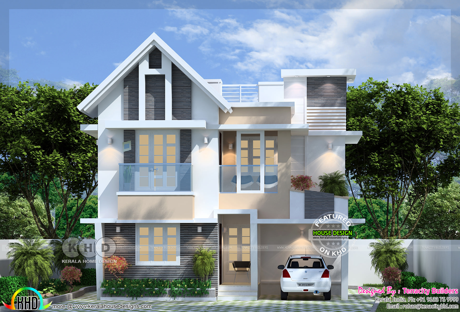 Ground Floor Area : 770 Square Feet. First Floor Area : 685 Square Feet.  Total Area : 1455 Sq.ft. No. Of Bedrooms : 3. Design Style : European Model