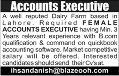 Female Accounts Executive Required