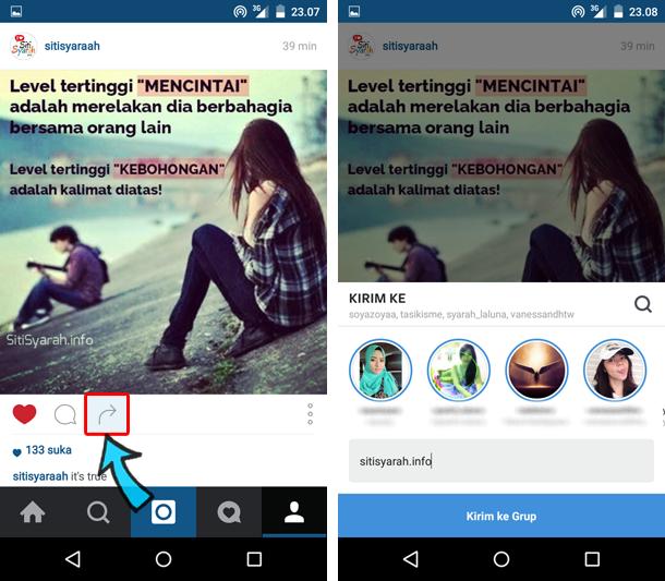 berbagi foto instagram ke teman