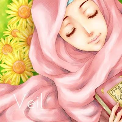gambar kartun muslimah membaca Alquran
