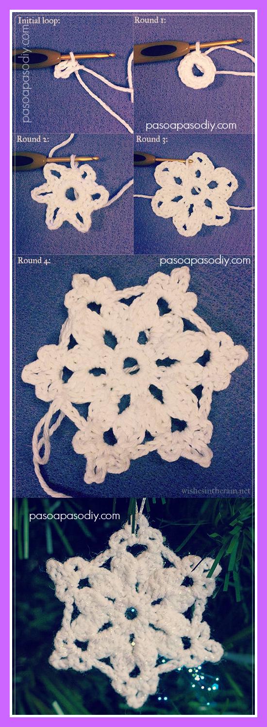 cómo hacer copos de nieve al crochet