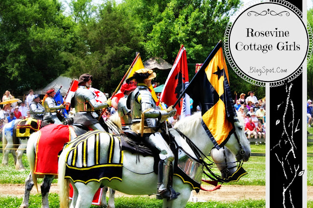 Tennessee Renaissance Festival Knights preparing to joust