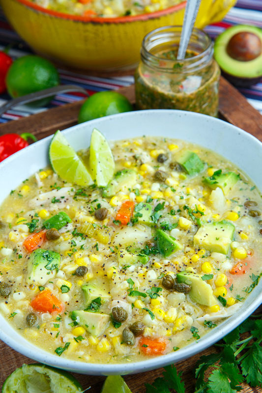 Colombian Chicken and Corn Soup (Ajiaco) on Closet Cooking