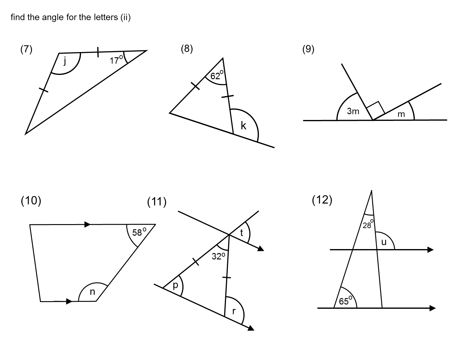 Year 7 Maths Questions Angles