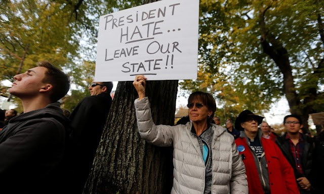 """""""President Hate, leave our state!"""", Protesters shout at Trump"""