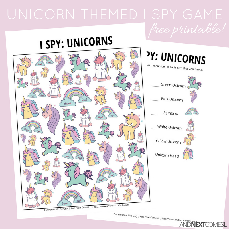 photo about I Spy Printable named Unicorn I Spy Recreation Cost-free Printable for Young children And Upcoming Will come L
