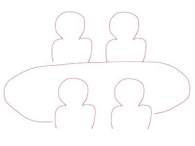 アイコン 「ミーティング」 (作: 塚原 美樹) ~ 反対側に座っている人を二人描く