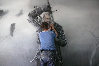 Malowanie wiedźmina na ścianie w pokoju młodzieżowym, grafffit na ścianie  w pokoju chłopca