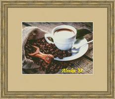 Кофе чашечка и зерна