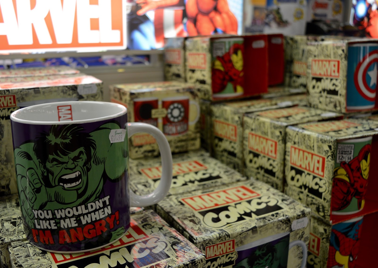 Fenwick's Window Newcastle 2016. Beatrix Potter / Peter Rabbit theme - Fenwick Toy Department third floor - Marvel hulk mug