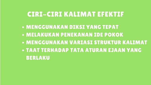Ciri-Ciri Kalimat Efektif